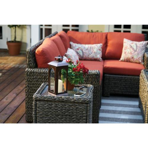 Square Wicker Accent Glass Top Storage Furniture