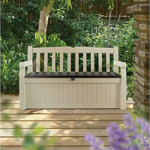 Outdoor Storage Bench Garden Pool Deck Box Weatherproof Pati
