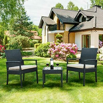 3 Piece Patio Furniture Set with 2 Cushioned Chairs & End Ta