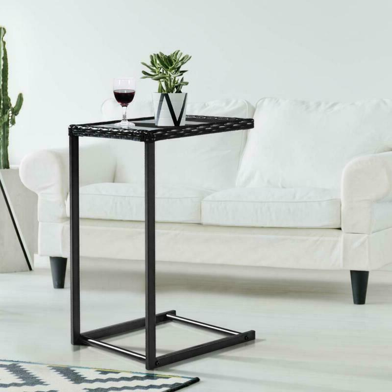 Tangkula Sofa Table, C-Shape Snack Table, Coffee Desk Table