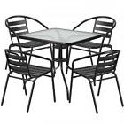 Flash Furniture TLH-0732SQ-017CBK4-GG Table And 4 Stack Chai