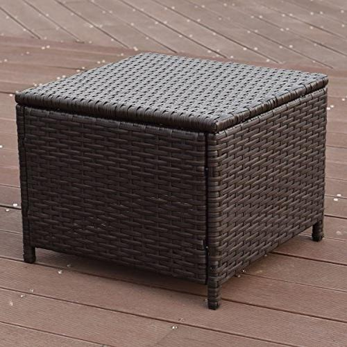 Tangkula 10 Outdoor Garden Wicker Rattan Sofa Conversation Set 4 Ottomans and Tempered Glass