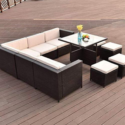 Tangkula Patio Furniture 10 Wicker Sofa Conversation Set Table 4 Ottomans Glass