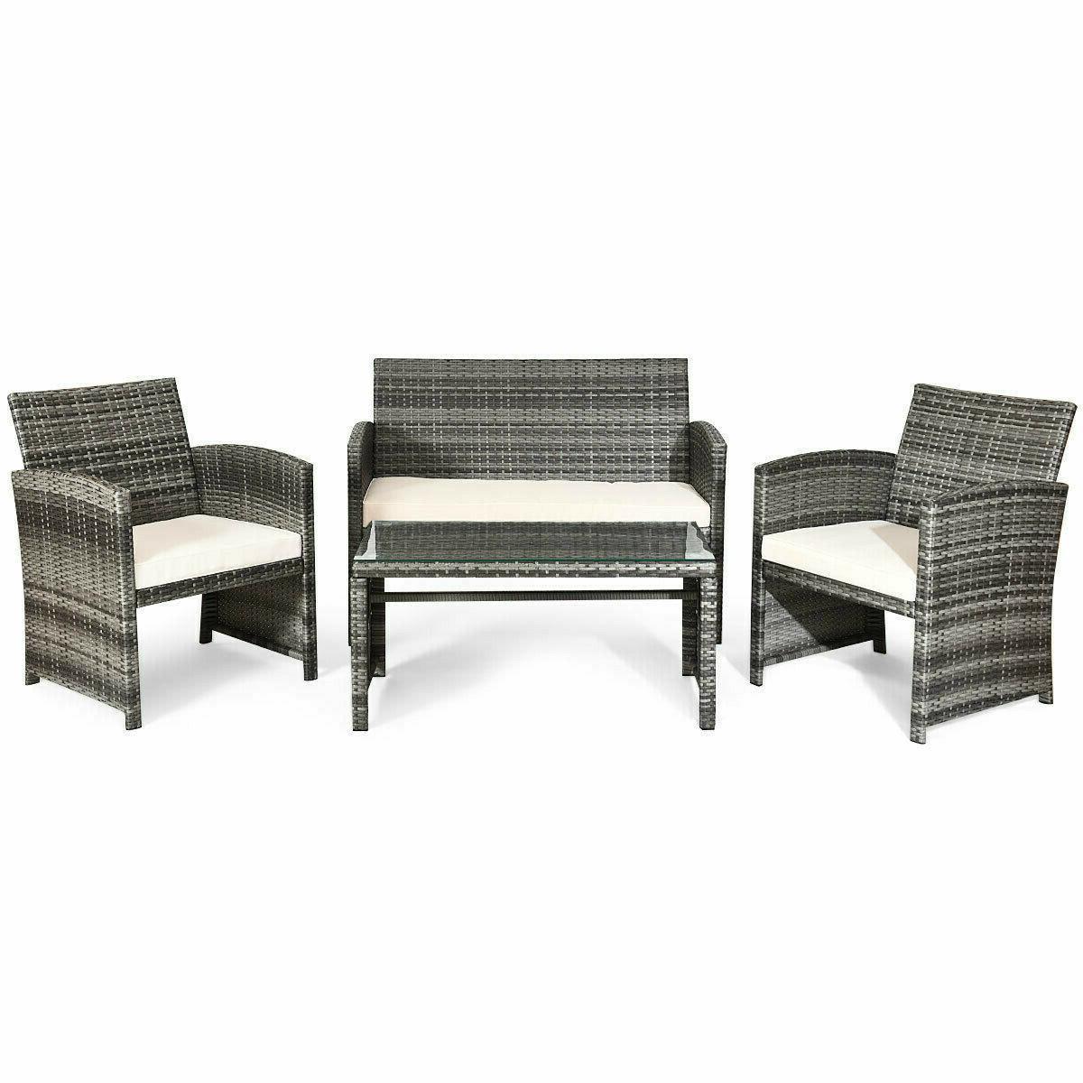 Wicker Rattan Patio Set 4 Pcs Outdoor Summer Furniture Top S