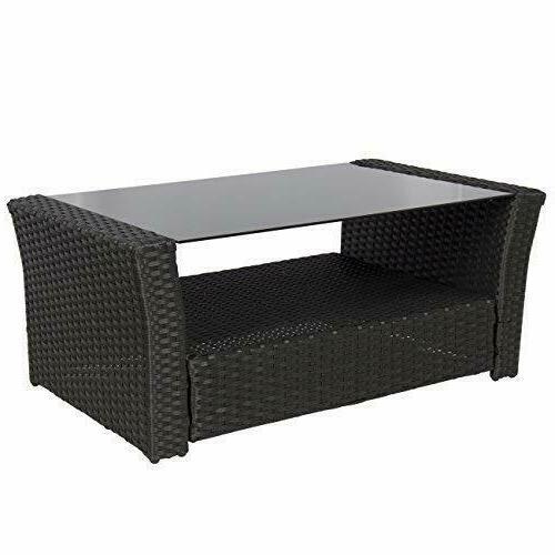 Wicker Rattan Sofa 4 Pieces Outdoor Garden Furniture Black