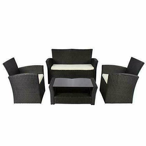 Wicker 4 Pieces Outdoor Furniture Seat Cushions Black