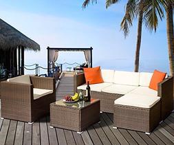 FLIEKS Leisure Zone Rattan Patio FurnitureSet Wicker Sofa