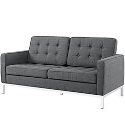Modway Loft Upholstered Fabric Mid-Century Modern Loveseat I