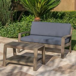Loveseat and Coffee Table Set Acacia Wood 2 Piece Outdoor Pa