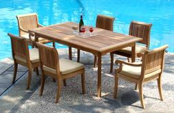 "New 7 Pc Luxurious Grade-A Teak Dining Set - 94"" Double Exte"