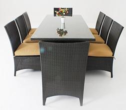 9-Piece Luxury Wicker Patio Indoor Outdoor Dinner Table Furn
