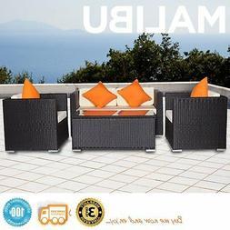 Malibu Black 4pc Outdoor Resin Wicker Patio Sofa Furniture S
