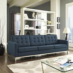 Mid-Century Modern Tufted Upholstered Fabric Living Room Sof