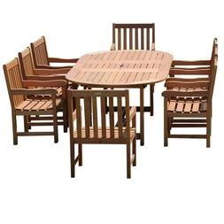 Milano 9 Pc Grand Extendable Deluxe Table Set