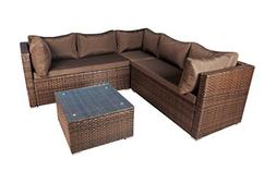 Modern Outdoor Garden, Sectional Sofa Set with Coffee Table