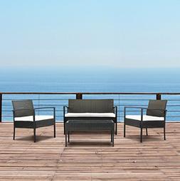 Modern Outdoor Garden, Patio 4 Piece Set - Wicker Sofa Furni