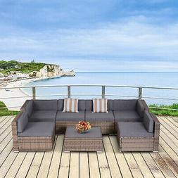 Outsunny 7-Piece Patio Furniture Set w/ 6 Seats, 2 Corners,