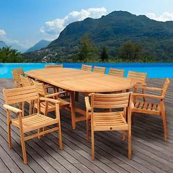 Amazonia Mondavi 12-Person Teak Patio Dining Set With Stacki