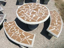 Mosaic Concrete Table Set with Tile Inlay, Lawn and Patio, O