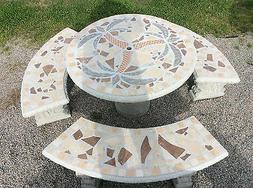 Mosaic Table, Concrete Patio Table Set, Outdoor Furniture, P