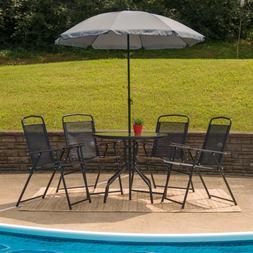 Nantucket 6 Piece Patio Garden Set with Table, Umbrella and