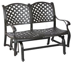 Darlee Nassau Cast Aluminum Bench Glider with Seat Cushion,