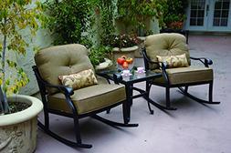 Darlee Nassau 3-Piece Classic Club Rocker Chair Set/Seat, Ba