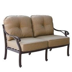 Darlee Nassau Patio Loveseat with Cushion in Antique Bronze
