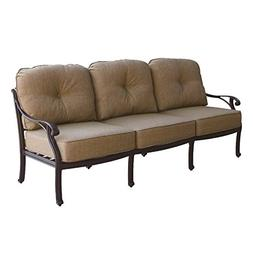 Darlee Nassau Outdoor Sofa with Cushions in Antique Bronze