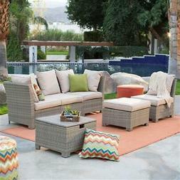 Natural Outdoor Wicker Resin Patio Furniture Conversation Se