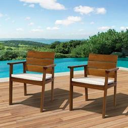 Amazonia 2-Piece Nelson Eucalyptus Easy Carver Chair Set wit