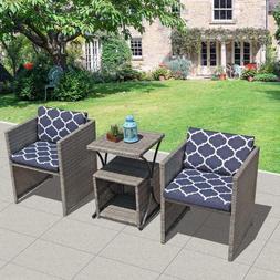New 4-Piece Patio Furniture Set Cushioned Wicker Conversatio