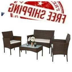 New Design 4PC PE Rattan Outdoor Patio Furniture Set Garden