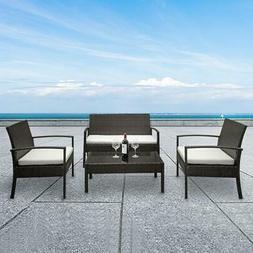 New Patio Wicker Furniture Outdoor 4pc Rattan Sofa Garden Co