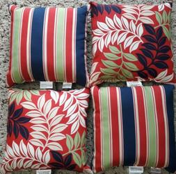 NEW SET OF 4 OUTDOOR PILLOWS PATIO FURNITURE RED BLUE STRIPE