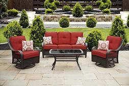 Hanover Orleans 4-Piece All-Weather Patio Set in Autumn Berr