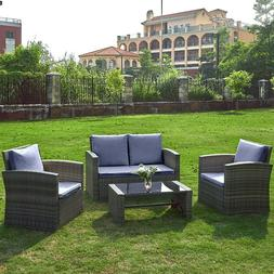 Outdoor 4 pieces Rattan Set Garden Furniture Patio Sofa Tabl