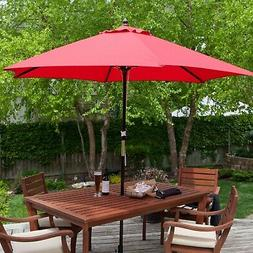 Outdoor 9-Ft Wood Patio Hexagon Shape Umbrella with Red Cano