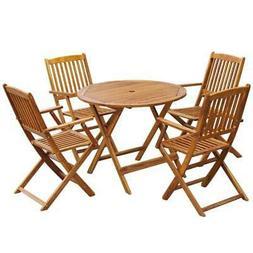 vidaXL 5 Piece Solid Eucalyptus Wood Outdoor Dining Set Gard
