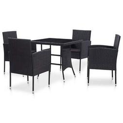 vidaXL Outdoor Dining Set 5 Pieces Poly Rattan Black Garden