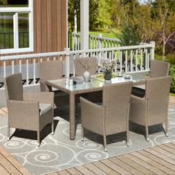 Outdoor Dining Set 7PCS Patio Dinning Table Beige-Brown Wick