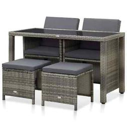 vidaXL Outdoor Dining Set with Cushions 5 Pieces Poly Rattan
