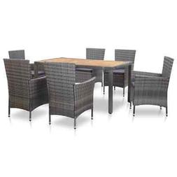 vidaXL Outdoor Dining Set with Cushions 7 Pieces Poly Rattan