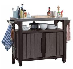 Keter Outdoor Entertainment Storage Station Grilling Table