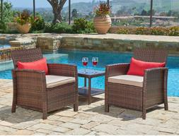 SUNCROWN Outdoor Furniture 3-Piece Patio Wicker Chairs with