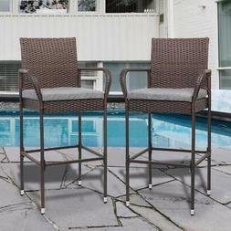 Outdoor Furniture Patio Bistro High Chairs Bar Stools Set of