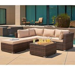 SUNCROWN Outdoor Furniture Sectional Sofa  All-Weather Brown