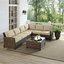 Outdoor Furniture Set Deck Patio Pool Tan Table Cushioned Wi
