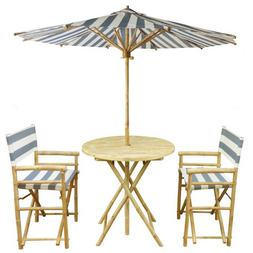 Outdoor Furniture Set Patio Deck Balcony Striped Umbrella Fo