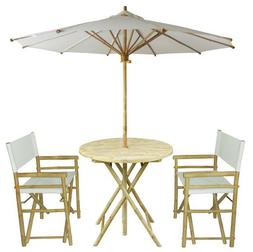 Outdoor Furniture Set Patio Deck Balcony Yard White Umbrella